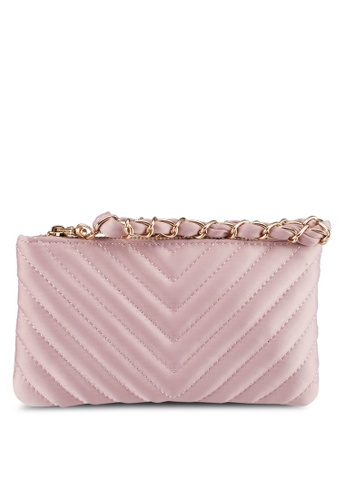 Zalia pink Satin Chevron Small Pouch 76EE9AC7D6CA86GS_1