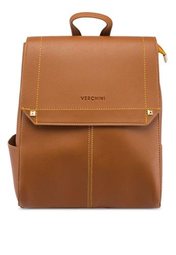Verchini brown Elegant Backpack 500BFAC1905DE4GS_1