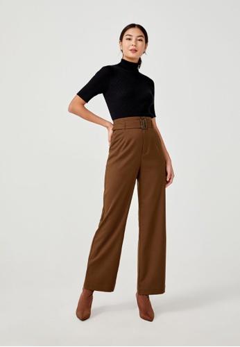 Love, Bonito brown Deeba Belted Pants C5FFCAA9708FABGS_1