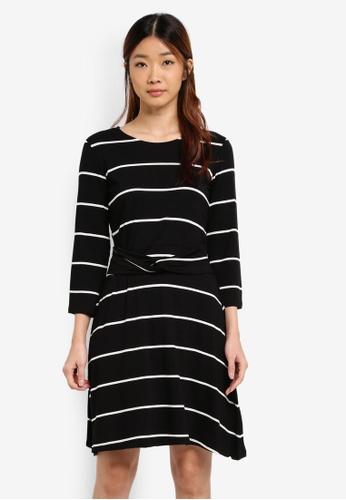 WAREHOUSE 黑色 Stripe Twist Belt Dress A99BDAA7D2F698GS_1