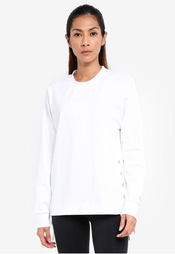 Running Bare white Lace Up Crew Neck Sweatshirt DD265AA6510503GS_1