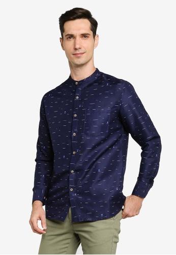 ZALORA BASICS navy Microprint Stand Collar Shirt F203FAAE37AB49GS_1