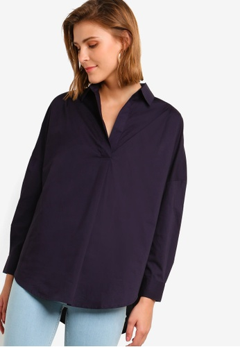 French Connection blue and navy Rhodes Poplin Pop Over Shirt DF998AAFCE55D4GS_1