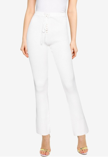 MISSGUIDED white Lace Up Detail Ribbed Flares Co Ord Pants 83962AA8FFAC6EGS_1