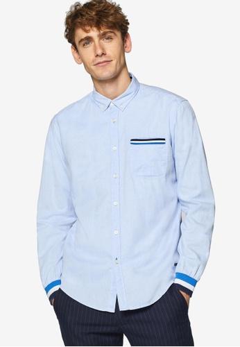 ESPRIT 藍色 長袖襯衫 4E5A8AA3A369A9GS_1