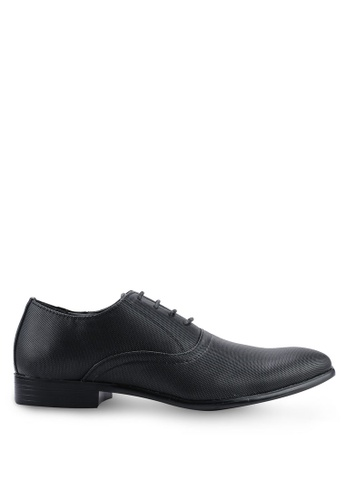 UniqTee 黑色 Round Toe Textured Oxford Dress Shoes BD594SH7B03B0AGS_1