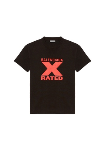 BALENCIAGA black Balenciaga X-Rated Small Fit T-Shirt in Black/Red 88501AA7255730GS_1