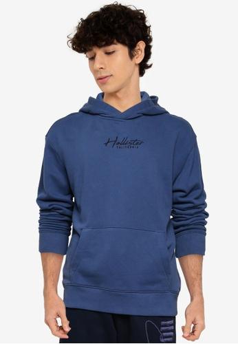 Hollister blue Solid Script Popover Hoodie BD2BBAA49E1CBBGS_1