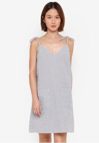 WAREHOUSE black Stripe Tie Shoulder Cami Dress 2A49AAAA82E4D0GS_1