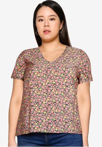 Vero Moda pink Plus Size Ellie Short Sleeves Blouse BC47FAA199626CGS_1
