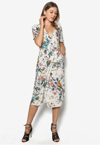 花鳥印花裹zalora 男鞋 評價飾連身裙, 服飾, 正式洋裝