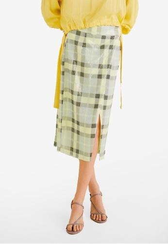 Mango yellow Sequin Wrap Skirt FF8C5AA686F6F4GS_1