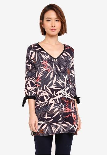 Wallis black Black Stripey Palm Print Tunic BD957AAF0071ABGS_1