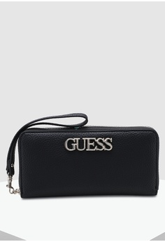 ec0c9041107 Guess black Uptown Chic Large Zip Around Wallet 5C2D4ACBC63E76GS_1