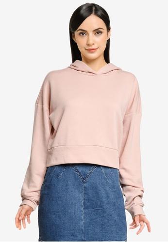 Noisy May 粉紅色 Lupa Long Sleeve Crop Hood Sweatshirt BDD87AA5FA84B8GS_1
