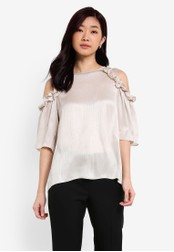 Dorothy Perkins gold Gold Frill Cold Shoulder Top DO816AA0RQTXMY_1