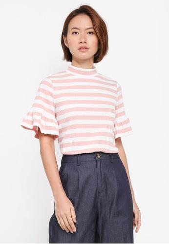 ZALORA pink Frill Sleeves Knit Top B4B93AA12584D9GS_1