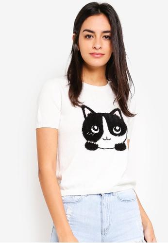 6IXTY8IGHT beige Kitten Knitted T-Shirt 4C8A5AA6388AC4GS_1