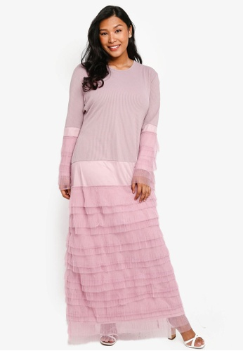 CURVA FABULOUS pink Bellerina Tulle Layered Maxi Dress E84F1AA15122E8GS_1