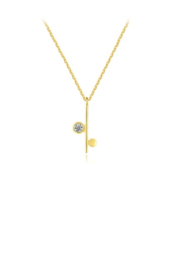 Glamorousky white 925 Sterling Silver Plated Gold Simple Temperament Geometric Pendant with Cubic Zirconia and Necklace 09689AC163552FGS_1