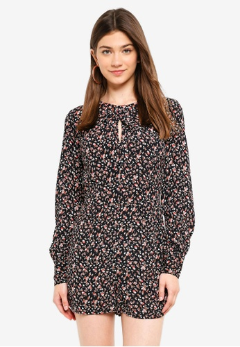 6d2a784508 Miss Selfridge multi Ditsy Floral Long Sleeve Playsuit FF3CCAAF01F929GS 1