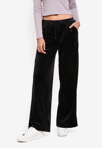 Supre black Wide Leg Velour Track Pants E4D89AAE043D1FGS_1