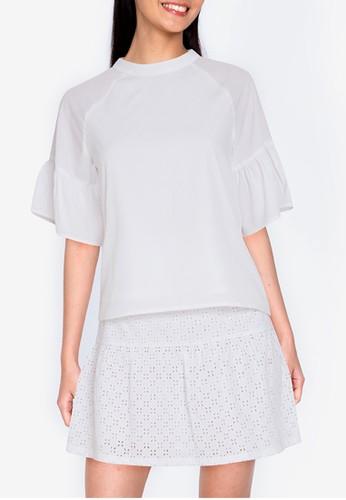 ZALORA BASICS white Sleeve Detail Top FB70DAAE57779BGS_1