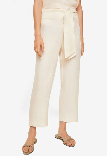 Mango beige Committed Collection Bow Soft Fabric Trousers 50213AA91C87B3GS_1