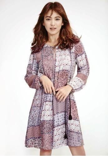 佩斯利印花繫帶洋裝, 服飾,zalora 心得 夏日洋裝
