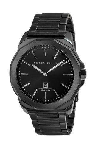 PERRY ELLIS black Perry Ellis Decagon Men 46mm Quartz Stainless Steel Watch 05006-02 04471AC7B4B534GS_1