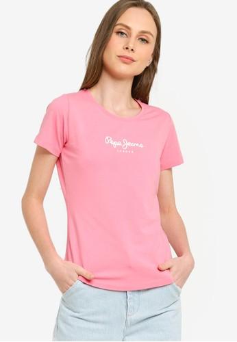 Pepe Jeans pink Virginia New Logo Tee CACD8AABFDDA7CGS_1