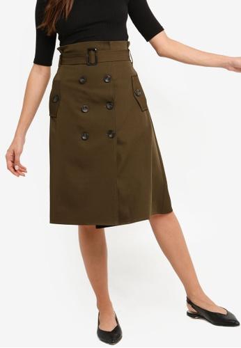 ZALORA green Button Down Midi Skirt BE07DAA525E1D6GS_1