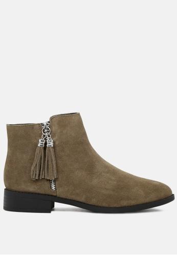Rag & CO. green Ankle Length Boots with Tassel Zipper RCSH1783 90D35SH83B4B71GS_1