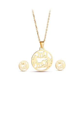 Glamorousky silver Fashion and Elegant Plated Gold Mama Geometric Round 316L Stainless Steel Necklace and Stud Earrings Set 0CB34ACB1CA377GS_1