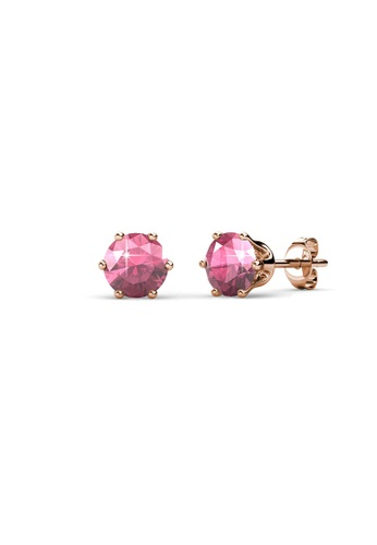 Her Jewellery pink and gold Birth Stone Earrings (October, Rose Gold) - Made with premium grade crystals from Austria 1E573ACD4625CAGS_1