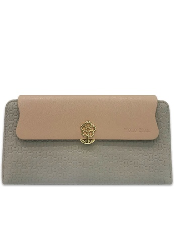 Polo Hill grey Polo Hill Flower Snap Long Wallet Grey 39393ACBFFDD55GS_1
