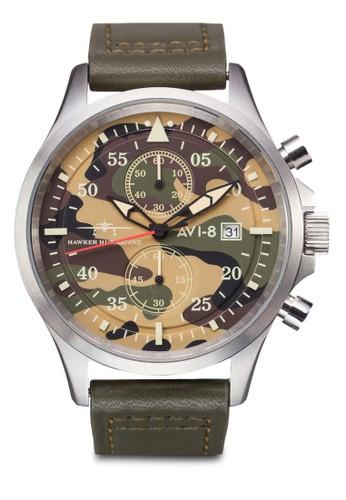 Hawker Hurricane 迷彩多功能皮革錶, 錶類esprit outlet 台中, 皮革錶帶