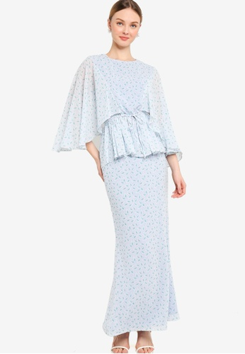 Lubna blue Flare Sleeve With Drawstring Kurung 3E3F0AADFC59A9GS_1