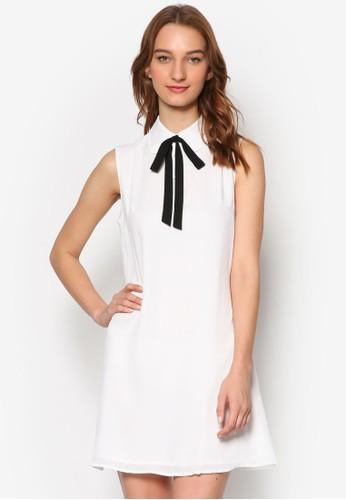 撞色繫帶襯衫無袖esprit 工作連身裙, 服飾, 洋裝