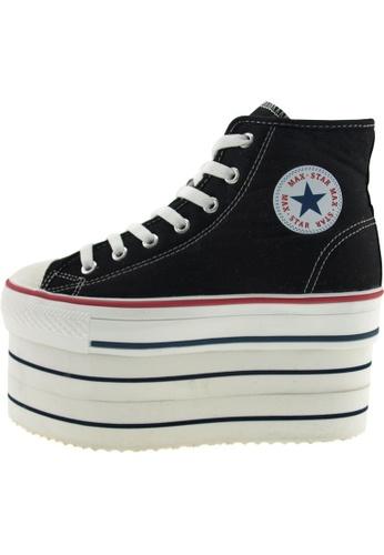 Maxstar 黑色 新款韩国鞋CNW-8H時尚帆布布混合女黑色 US Women Size MA345SH47HGUTW_1