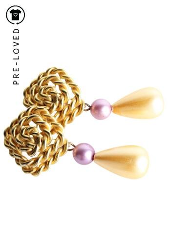 Les Bernard gold Pre-Loved les bernard Faux Pearls Teardrop Earrings CEDB4AC6142129GS_1