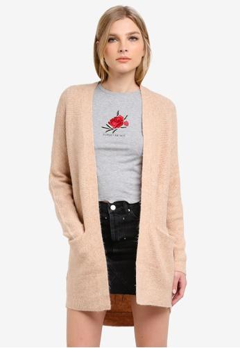 Miss Selfridge beige Camel Cocoon Knitted Cardigan MI665AA0S6FMMY_1