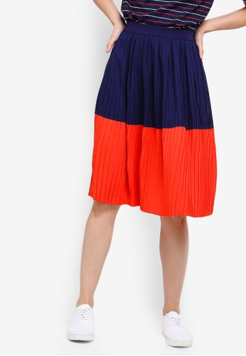 ZALORA BASICS orange and navy Basic Colourblock Pleated Skirt DA595AA0249EB1GS_1
