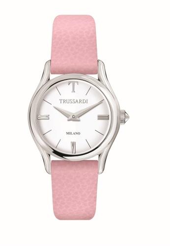 Trussardi pink T-Light Quartz Watch Pink Leather Strap R2451127505 B7A45ACC4200F0GS_1