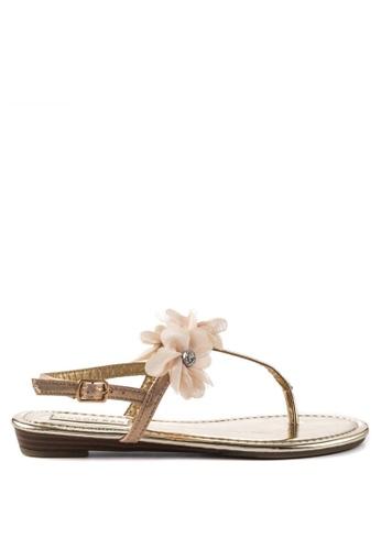 London Rag gold Sarah Toe Post Flat Sandals B601ASHD97D761GS_1