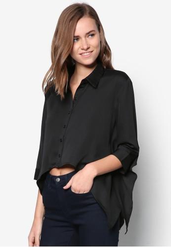 不對稱下擺七分袖襯衫, 服esprit hong kong 分店飾, 上衣