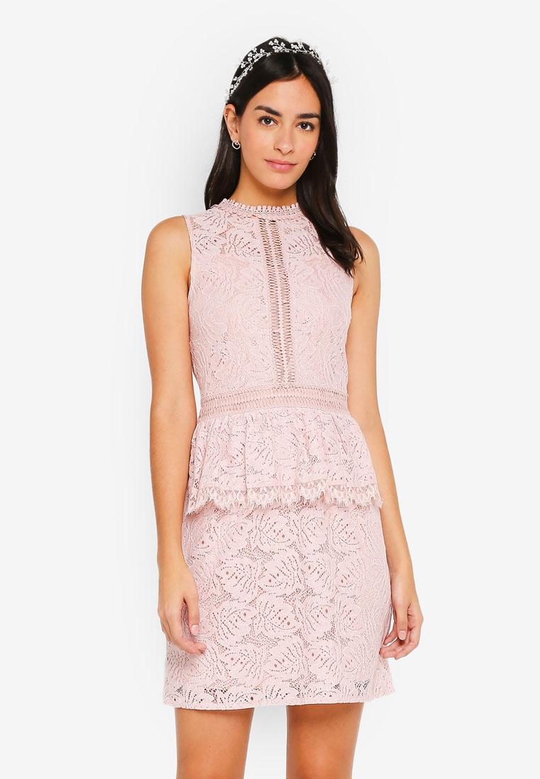 Bridesmaid Peplum Blush Lace Dress ZALORA ZZRrwH