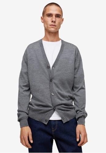 MANGO Man grey Merino Wool Washable Cardigan 585F2AAA6FABF8GS_1