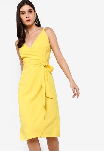 ZALORA yellow Overlap Dress 9AE49AA6871769GS_1