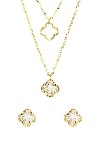 Venice Jewelry gold Venice Layered Flower Necklace and Earrings Set VE564AC0IMD3PH_1
